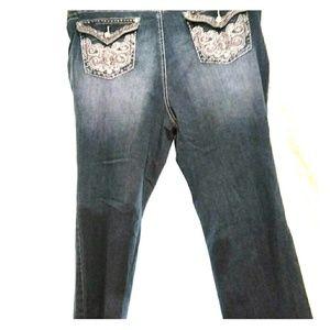 Earl Jeans Embellished Rhinestones slim boot siz22